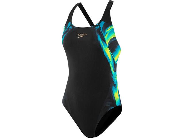 speedo Placement Traje de Baño Powerback Mujer, negro/Multicolor